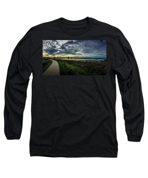 Wetlands Sunset Panorama Long Sleeve T-Shirt