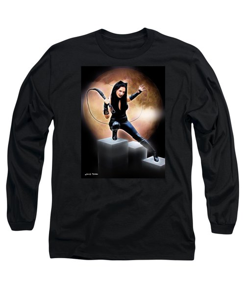 Whip Of The Feline Fatale Long Sleeve T-Shirt