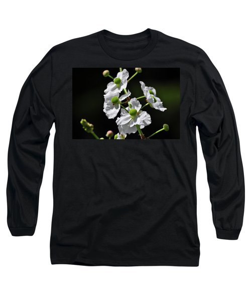 White And Green Wildflowers Long Sleeve T-Shirt