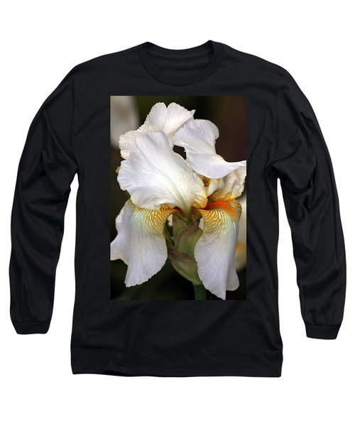 Long Sleeve T-Shirt featuring the photograph White Bearded Iris by Sheila Brown