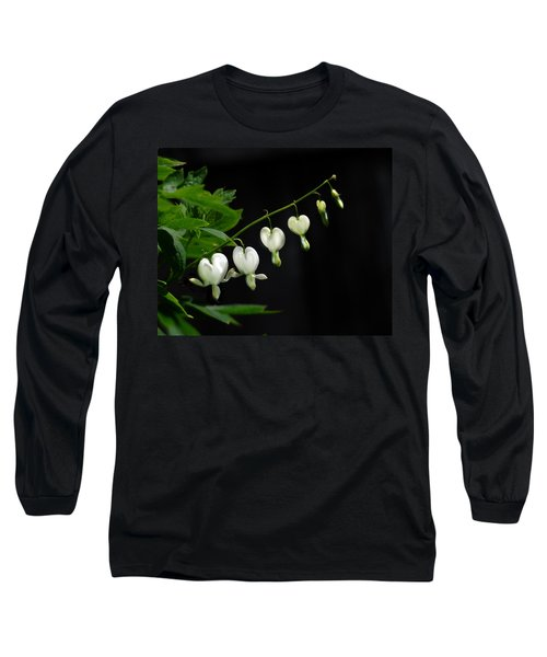 Long Sleeve T-Shirt featuring the photograph White Bleeding Hearts by Susan Capuano