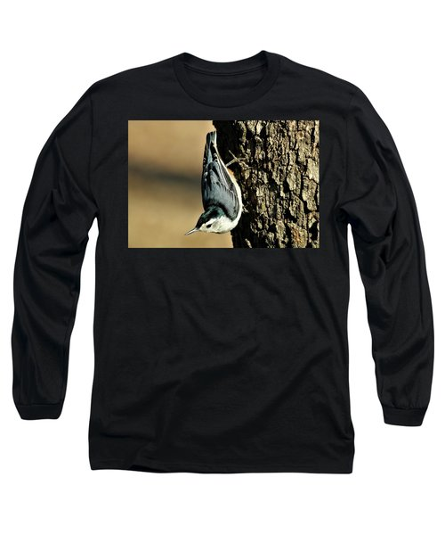White-breasted Nuthatch On Tree Long Sleeve T-Shirt by Sheila Brown