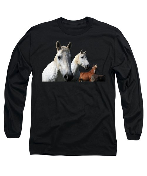White Camargue Horses On Black Background Long Sleeve T-Shirt