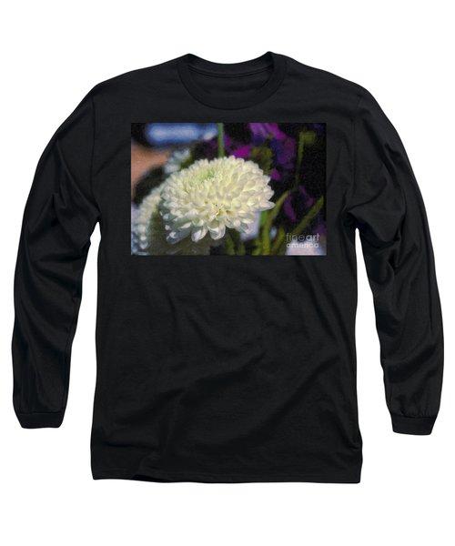 Long Sleeve T-Shirt featuring the photograph White Chrysanthemum Flower by David Zanzinger