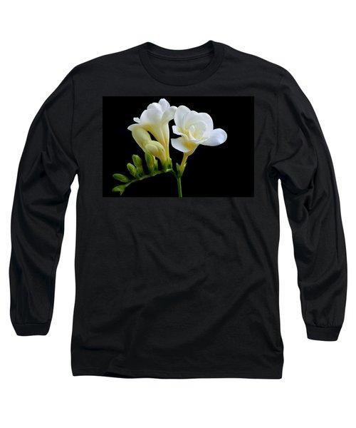 White Freesia Long Sleeve T-Shirt by Terence Davis