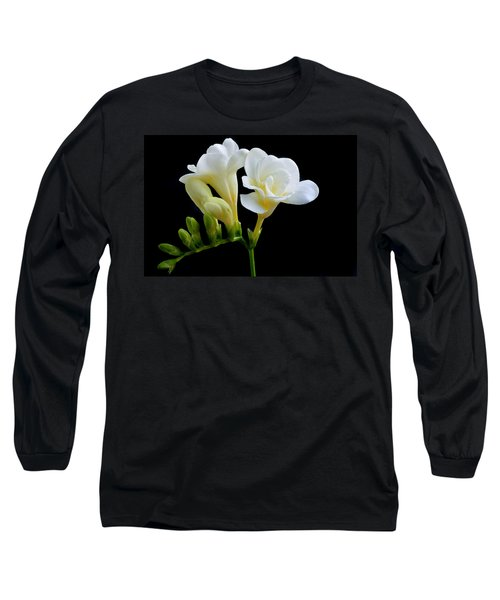 White Freesia Long Sleeve T-Shirt
