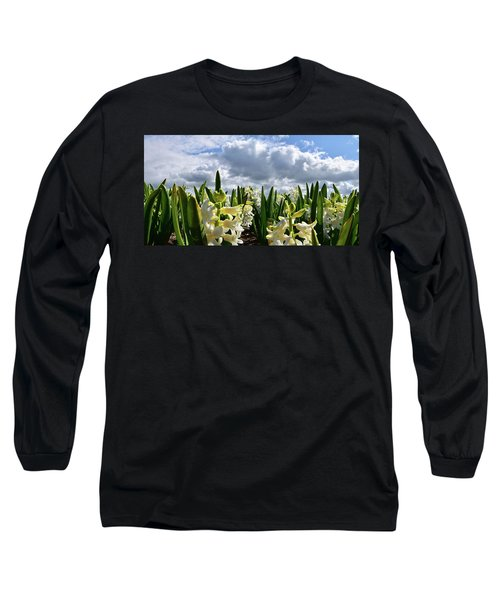 White Hyacinth Field Long Sleeve T-Shirt by Mihaela Pater