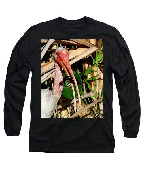 White Ibis Eating Crayfish Long Sleeve T-Shirt
