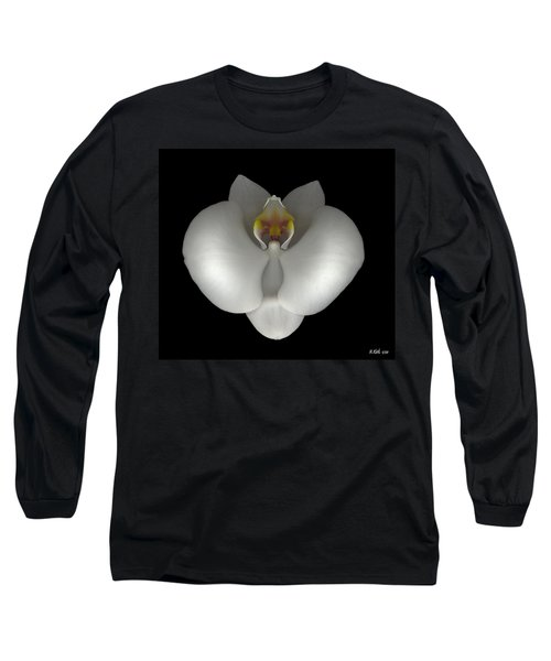White Orchid On Black Long Sleeve T-Shirt
