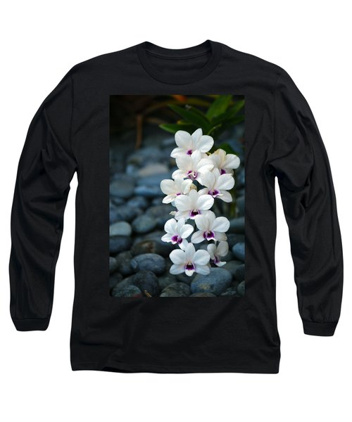 Long Sleeve T-Shirt featuring the photograph White Orchids by Debbie Karnes