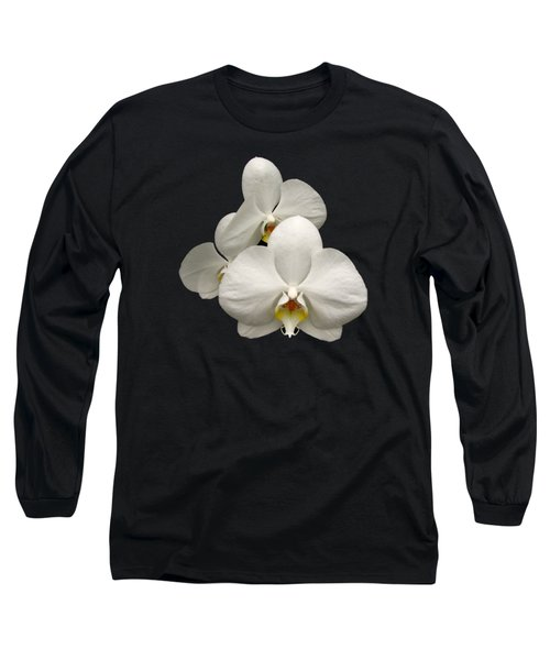White Orchids Long Sleeve T-Shirt by Rose Santuci-Sofranko