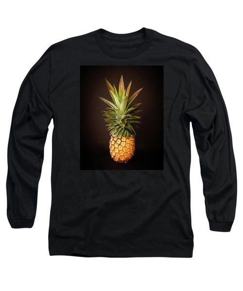White Pineapple King Long Sleeve T-Shirt by Denise Bird