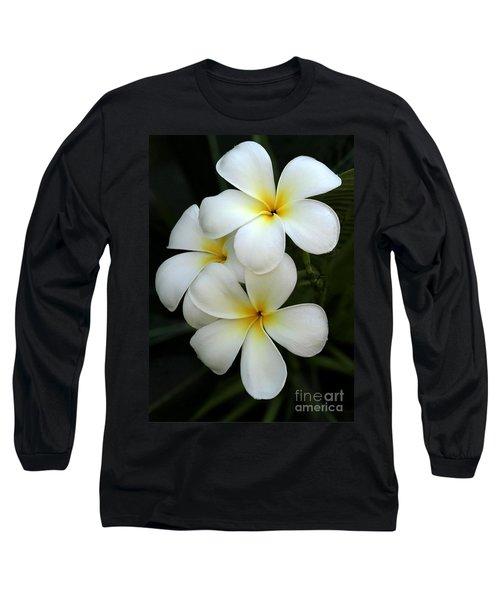White Plumeria Long Sleeve T-Shirt