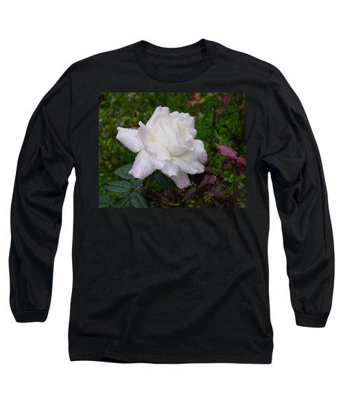 White Rose In Rain Long Sleeve T-Shirt