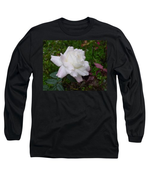 White Rose In Rain Long Sleeve T-Shirt