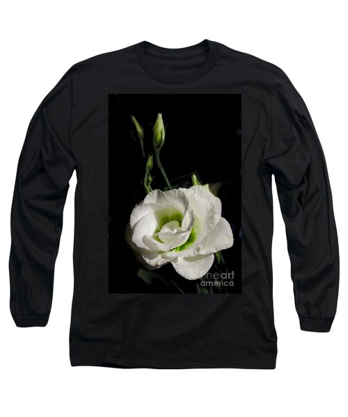 White Rose On Black Long Sleeve T-Shirt