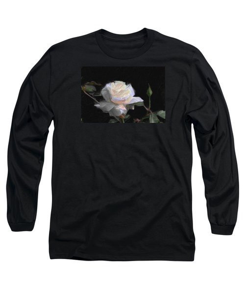 White Rose Painting Long Sleeve T-Shirt by Don  Wright
