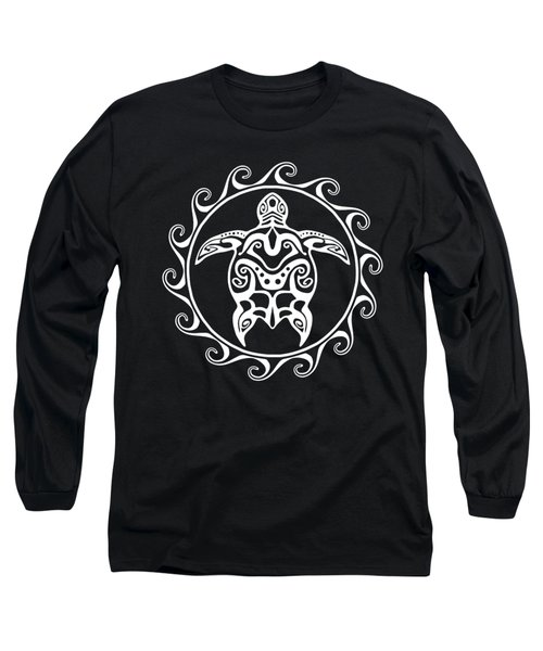 White Tribal Turtle Long Sleeve T-Shirt