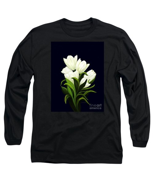 Long Sleeve T-Shirt featuring the painting White Tulips by Patricia Griffin Brett