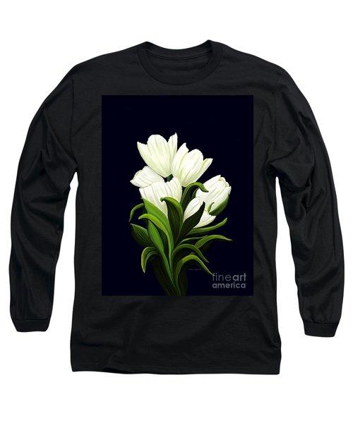 White Tulips Long Sleeve T-Shirt