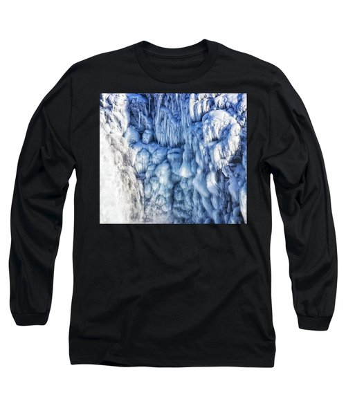 Long Sleeve T-Shirt featuring the photograph White Water And Blue Ice Gullfoss Waterfall Iceland by Matthias Hauser