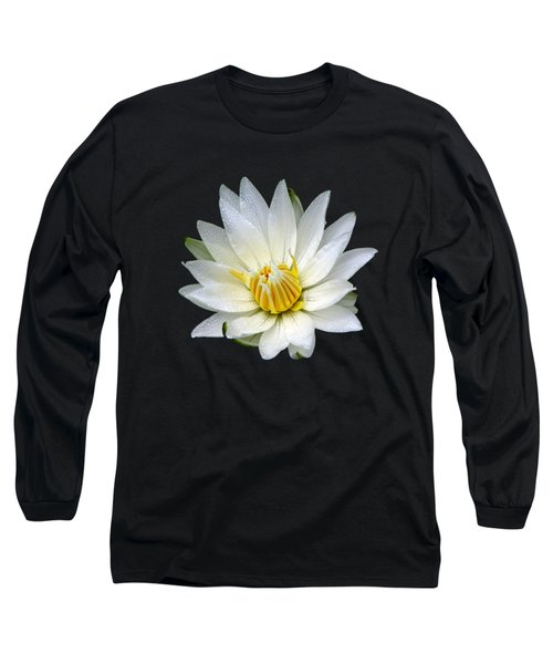 Long Sleeve T-Shirt featuring the photograph White Waterlily With Dewdrops by Rose Santuci-Sofranko