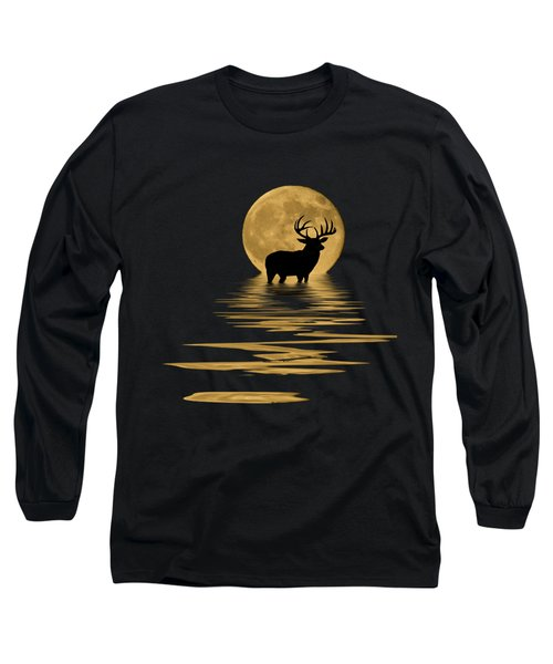 Whitetail Deer In The Moonlight Long Sleeve T-Shirt