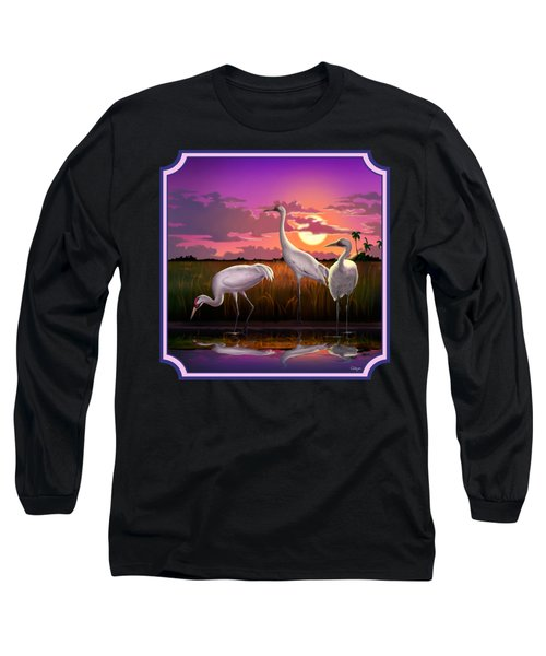 Whooping Cranes At Sunset Tropical Landscape - Square Format Long Sleeve T-Shirt
