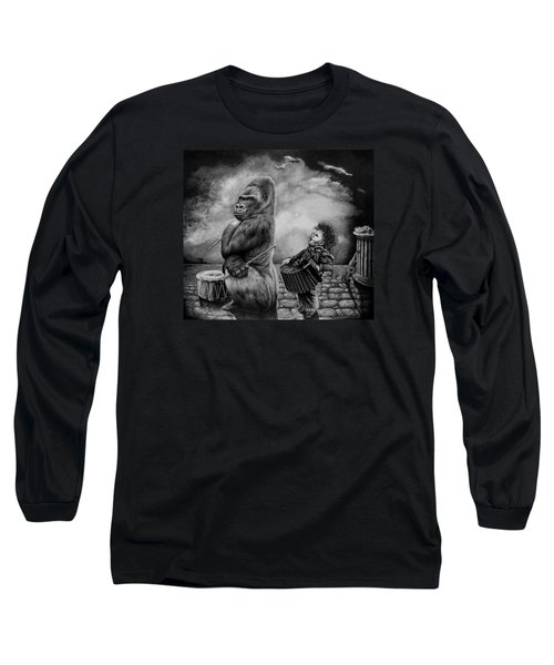 Long Sleeve T-Shirt featuring the drawing Why Did You Stop by Geni Gorani