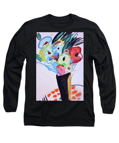 Wild Blue Flowers Long Sleeve T-Shirt by Amara Dacer