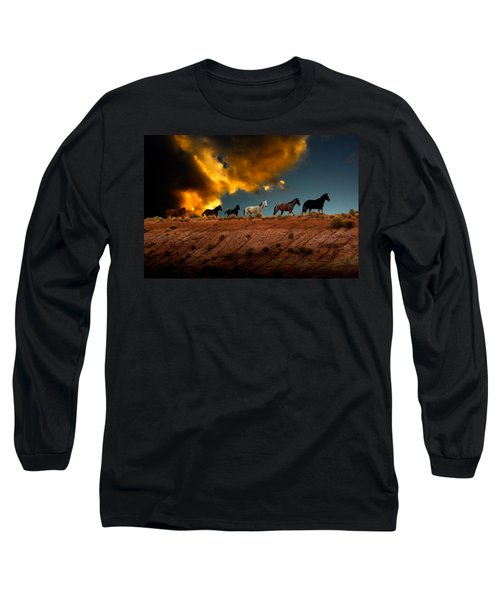 Long Sleeve T-Shirt featuring the photograph Wild Horses At Sunset by Harry Spitz