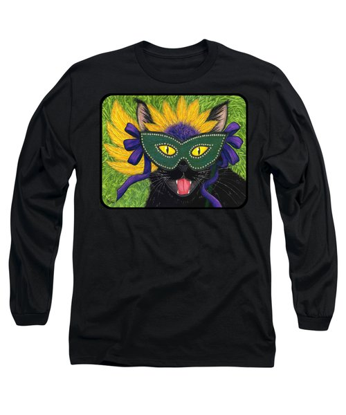 Long Sleeve T-Shirt featuring the painting Wild Mardi Gras Cat by Carrie Hawks