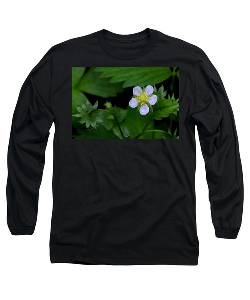 Wild Strawberry Blossom And Raindriops Long Sleeve T-Shirt