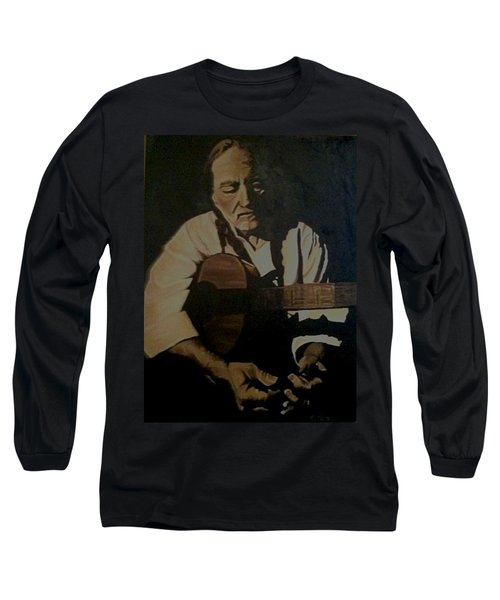Long Sleeve T-Shirt featuring the painting Willie Nelson by Ashley Price