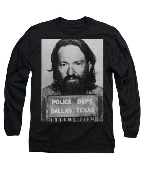Willie Nelson Mug Shot Vertical Black And White Long Sleeve T-Shirt