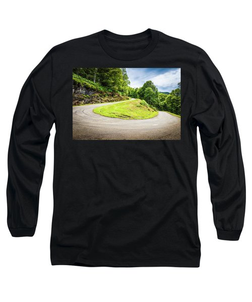 Winding Road With Sharp Curve Going Up The Mountain Long Sleeve T-Shirt by Semmick Photo