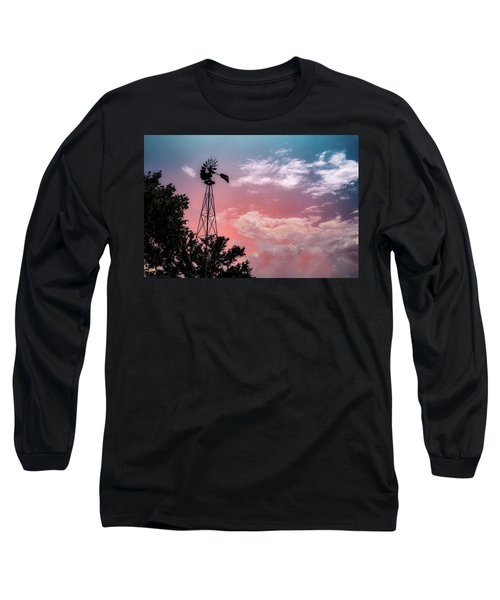 Windmill At Sunset Long Sleeve T-Shirt
