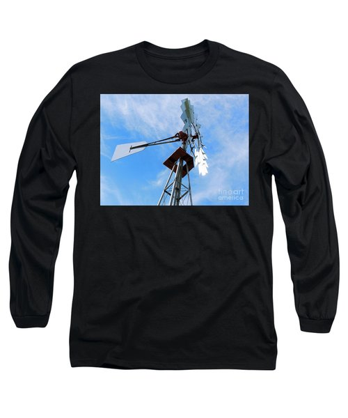 Long Sleeve T-Shirt featuring the photograph Windmill - Mildly Cloudy Day by Ray Shrewsberry