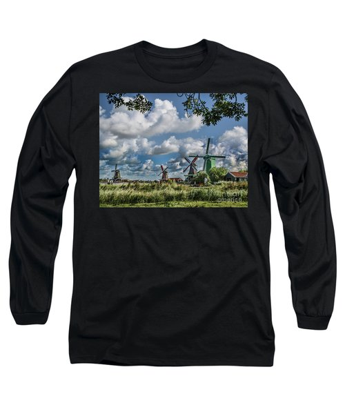 Windmills Of Holland Long Sleeve T-Shirt by Shirley Mangini