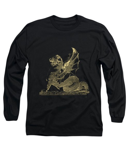 Winged Dragon Chimera From Fontaine Saint-michel, Paris In Gold On Black Long Sleeve T-Shirt by Serge Averbukh
