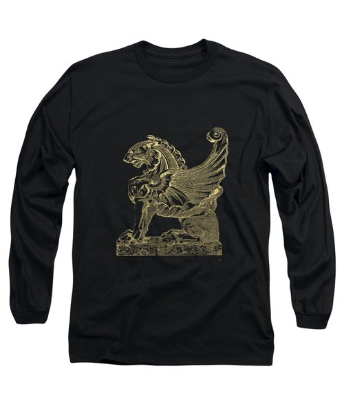 Winged Lion Chimera From Casa San Isidora, Santiago, Chile, In Gold On Black Long Sleeve T-Shirt by Serge Averbukh