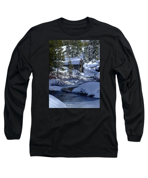 Winter Cottage Long Sleeve T-Shirt by Donna Blackhall
