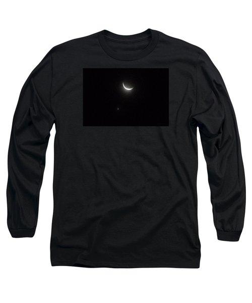 Long Sleeve T-Shirt featuring the photograph Winter Moon Venus Star by Deborah Moen
