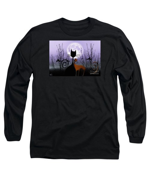 Winter Moon Cats In Love Long Sleeve T-Shirt by Rosa Cobos