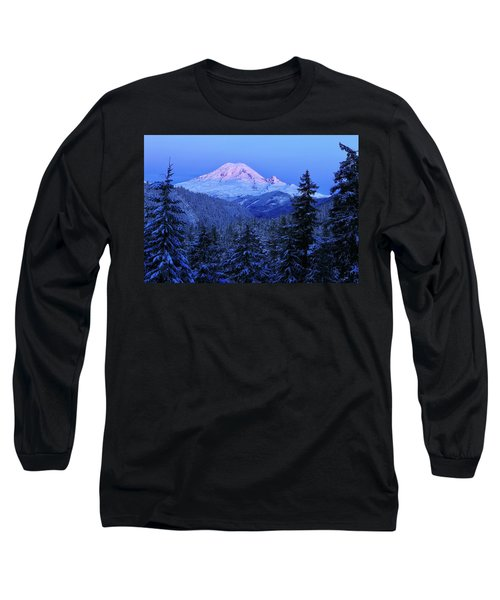 Winter Morning With Mount Rainier Long Sleeve T-Shirt