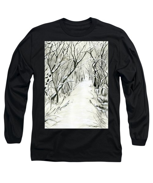 Winter Scene Long Sleeve T-Shirt by Nadine Dennis