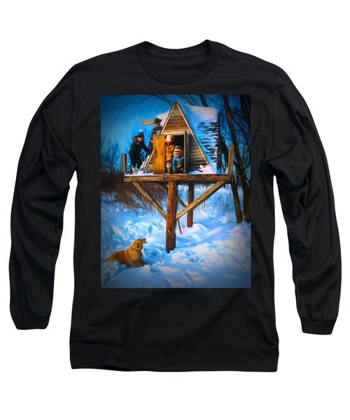 Winter Scene Three Kids And Dog Playing In A Treehouse Long Sleeve T-Shirt