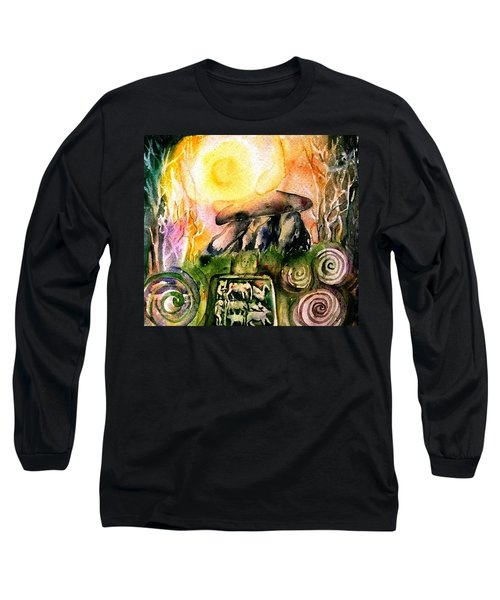 Long Sleeve T-Shirt featuring the painting Winter Solstice , Ancient Stones Of Ireland   by Trudi Doyle
