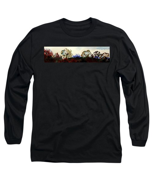 Winter Trees Silhouetted Against Mist Panorama Long Sleeve T-Shirt