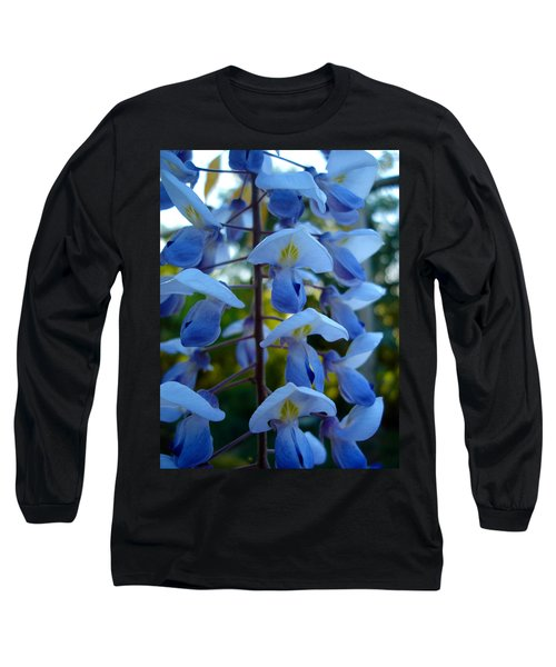 Wisteria - Blue Hooded Ladies Long Sleeve T-Shirt